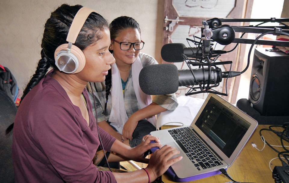 Women of Her Farm Nepal recording a podcast