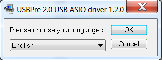 Select Language dialog for ASIO driver installation