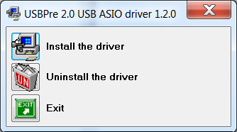 Install selection dialog for ASIO driver installation
