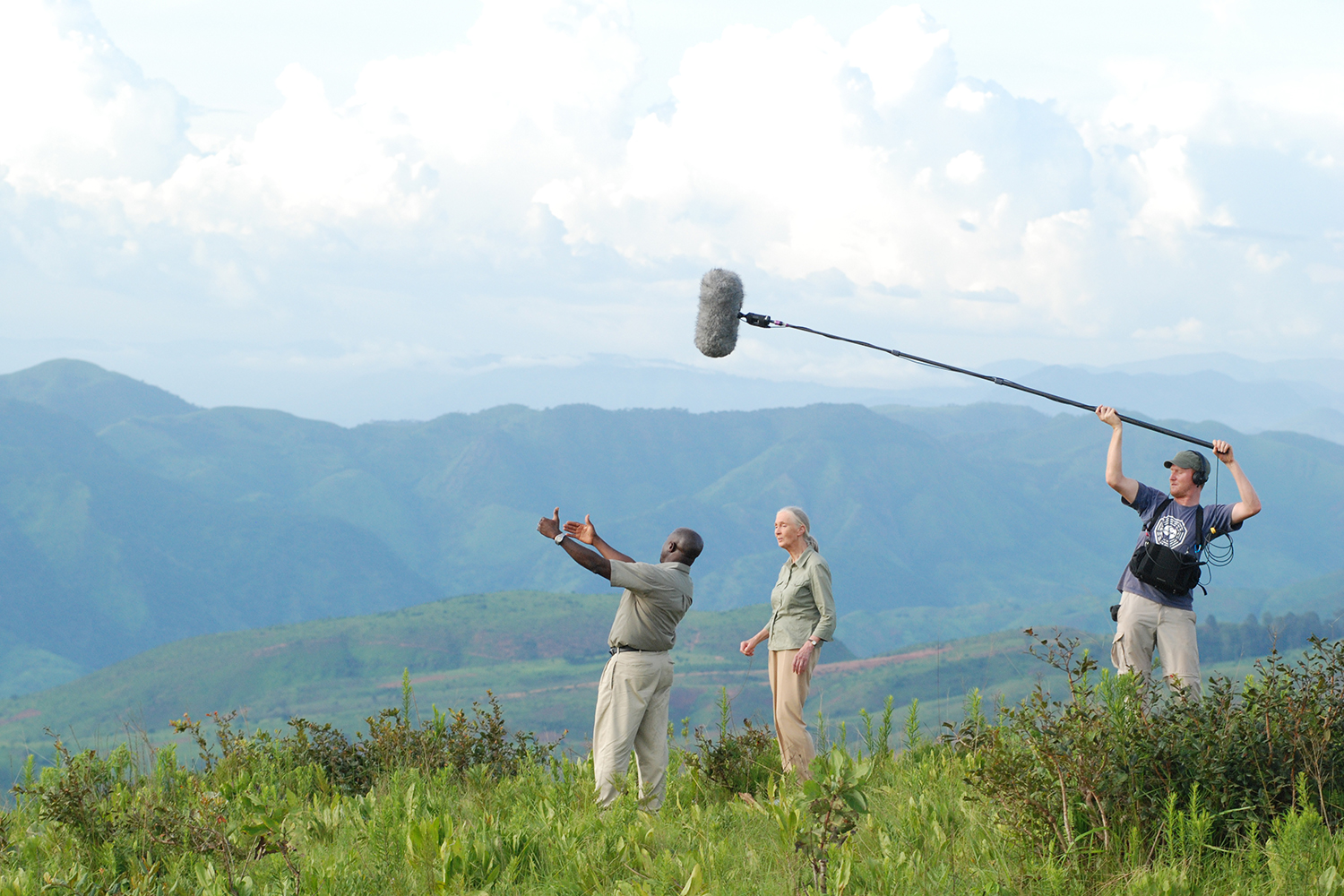 André Zacher recording Jane Goodall documentary Jane's Journey