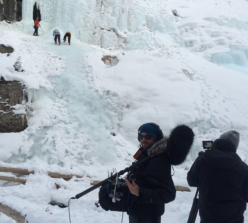 Brad Martin with ice climber Will Gadd at the Johnston Canyon