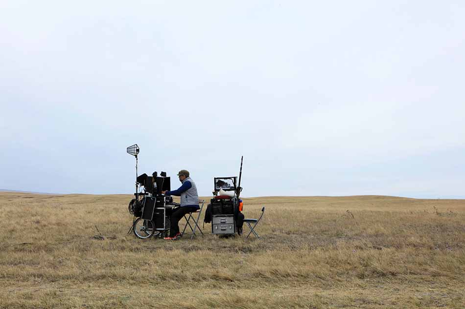 David Husby and his cart on location for The Solutrean