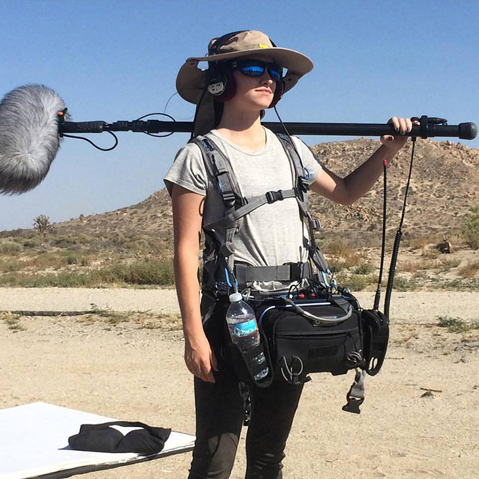 Kally Williams on location in the desert with her 633