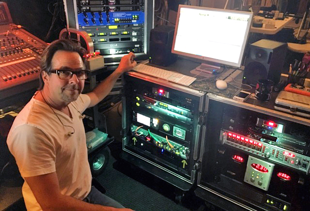 Michael Alexander with his sound cart featuring a 970 recorder
