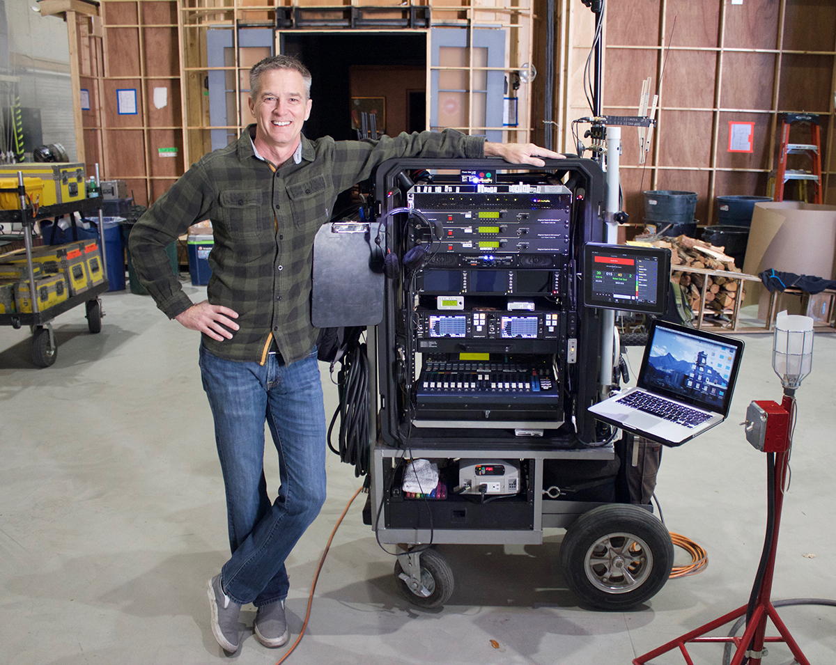 Phillip Palmer with his sound cart featuring 2 PIX 260i's