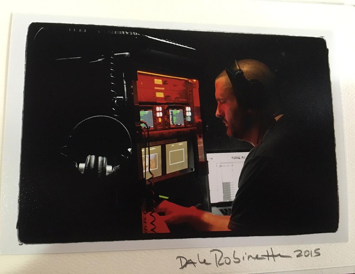 Action shot of Steve Morrow mixing on the set of La La Land.