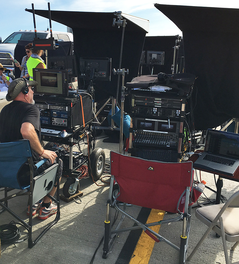 Steve Morrow's sound cart on the set of La La Land