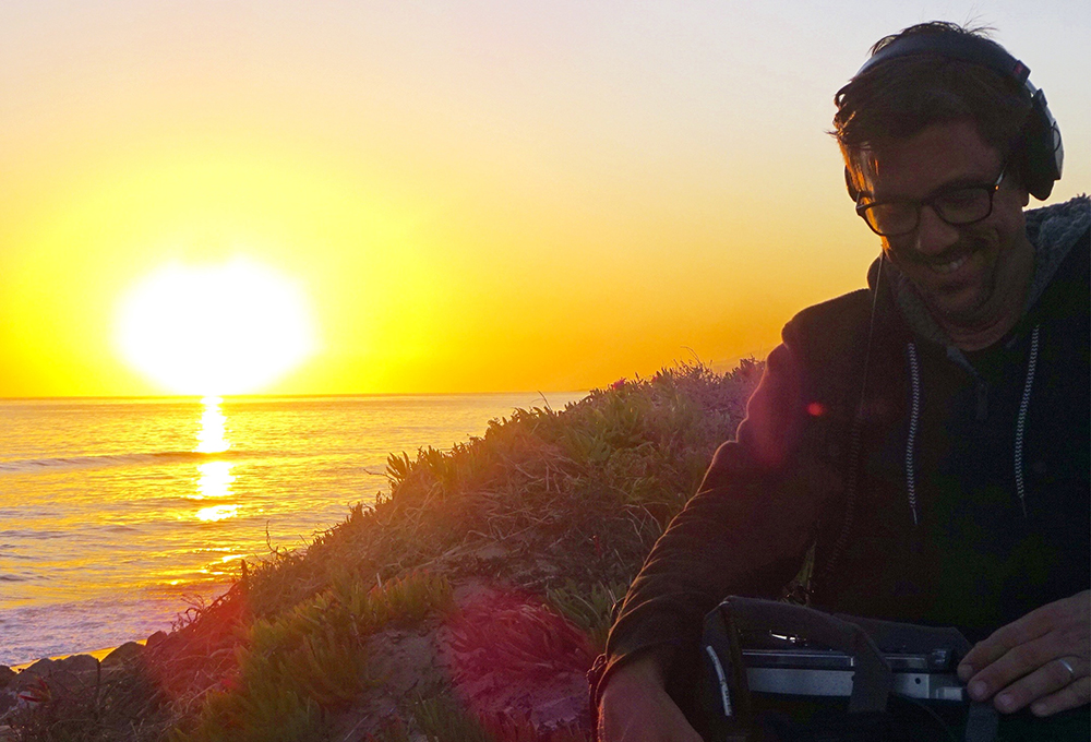 Brendan Beebe mixing by the oceanfront
