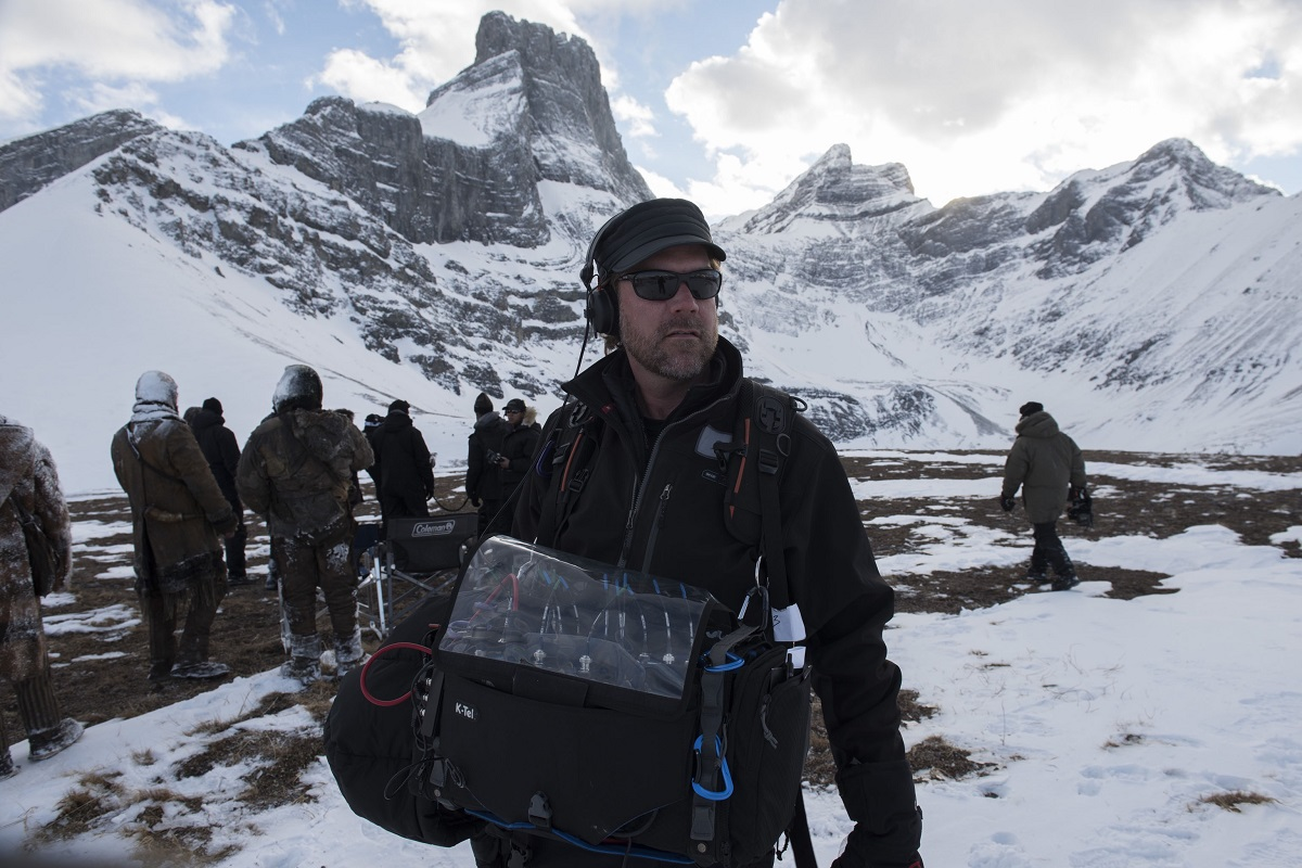 Chris Duesterdiek sound bag on location for The Revenant