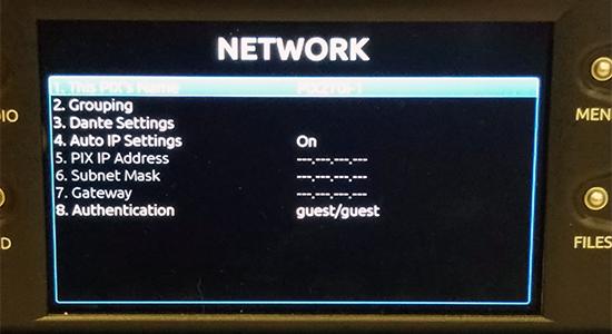 Network screen on PIX 270i