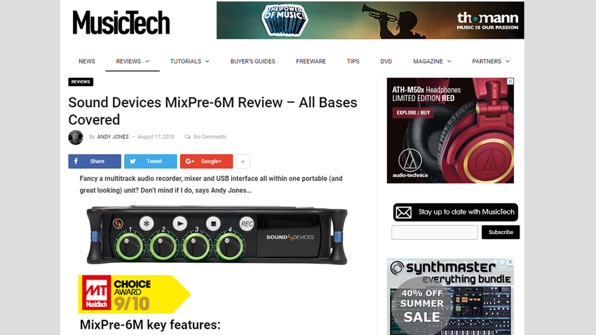 MusicTech web page of MixPre-6M Review